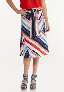 Plus Size Watercolor Stripe Skirt