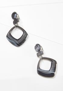 Black Resin Clip-On Earrings
