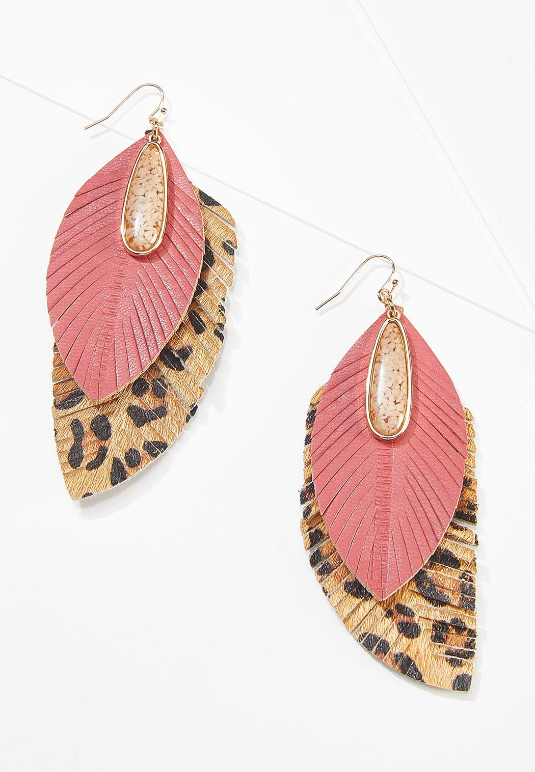 Coral Leopard Feather Earrings