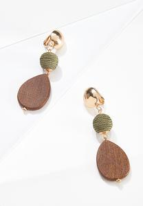 Mixed Material Clip-On Earrings