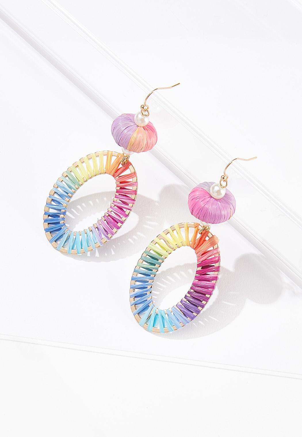 Pastel Rainbow Raffia Earrings