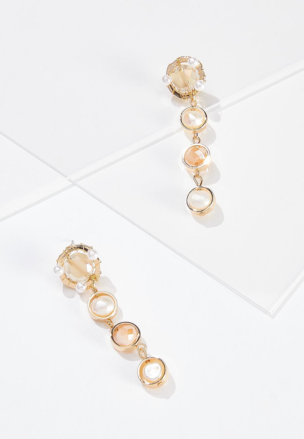 Linear Pearl Rondelle Earrings