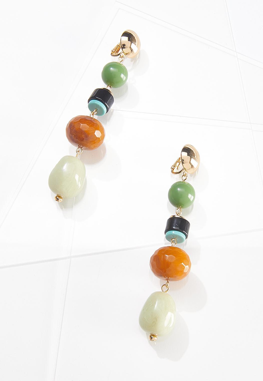 Linear Bead Clip-On Earrings