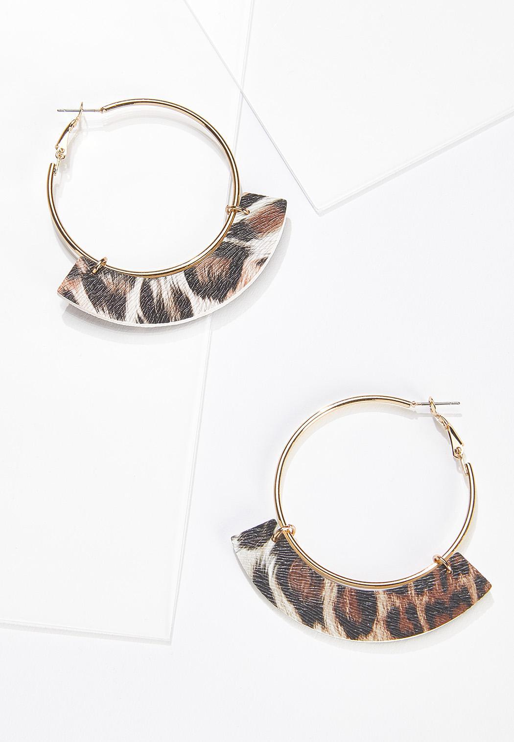 Faux Leather Leopard Hoop Earrings