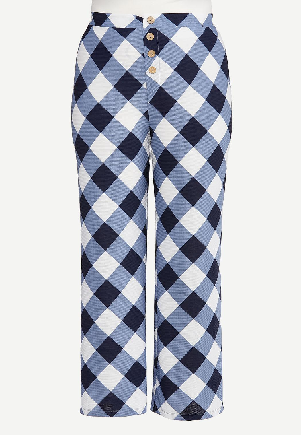 Plus Size Navy Gingham Pants