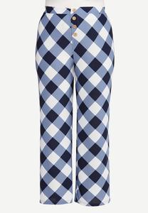 Plus Petite Navy Gingham Pants
