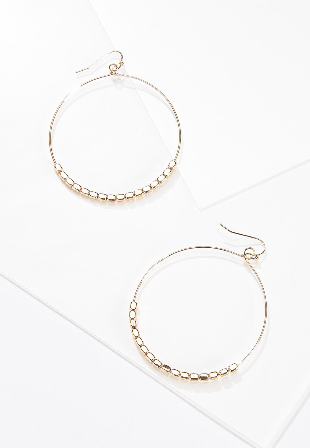 Delicate Beaded Hoop Earrings