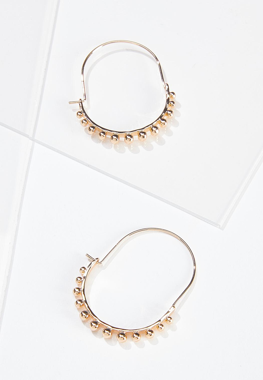 Beaded Oval Hoop Earrings