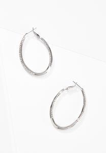 Rhinestone Oval Hoop Earrings