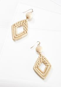 Raffia Diamond Bead Earrings