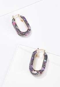 Oval Lucite Hoop Earrings