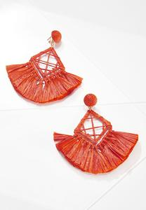 Diamond Raffia Tassel Earrings