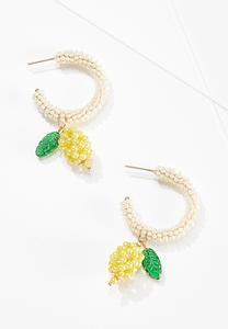Lemon Seed Bead Hoop Earrings