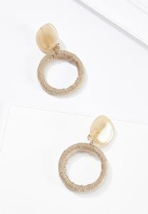 Natural Resin Raffia Clip-On Earrings