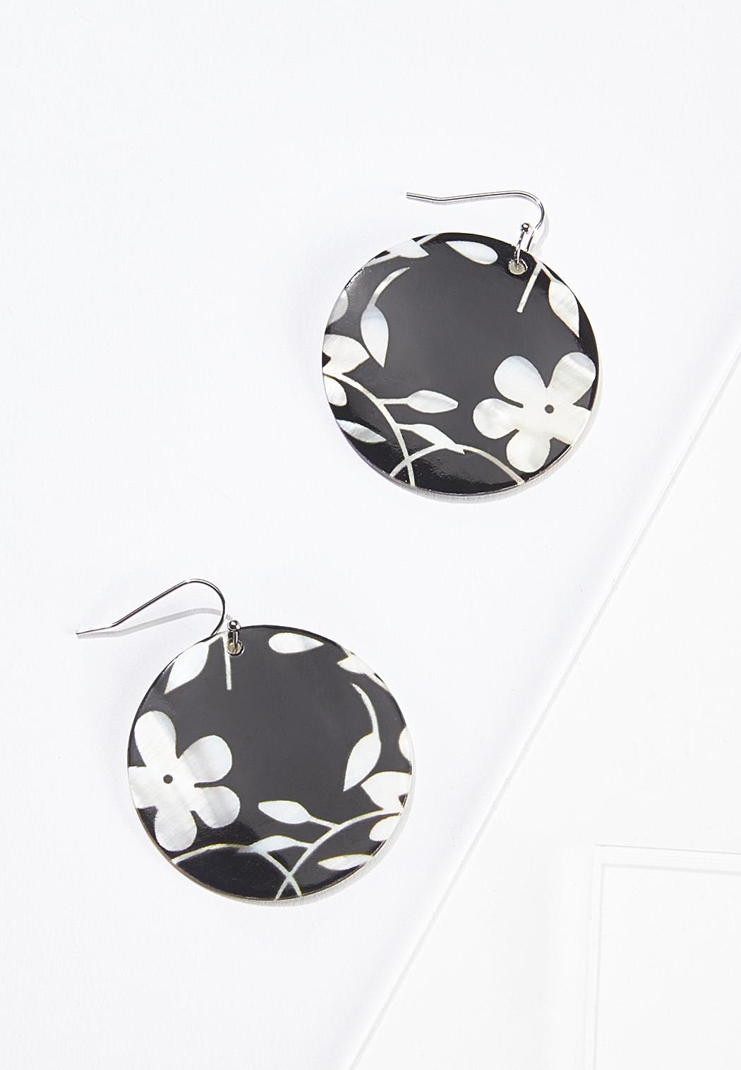 Black Floral Disc Earrings