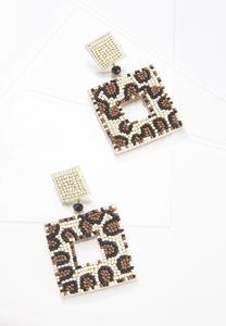 Leopard Seed Bead Earrings