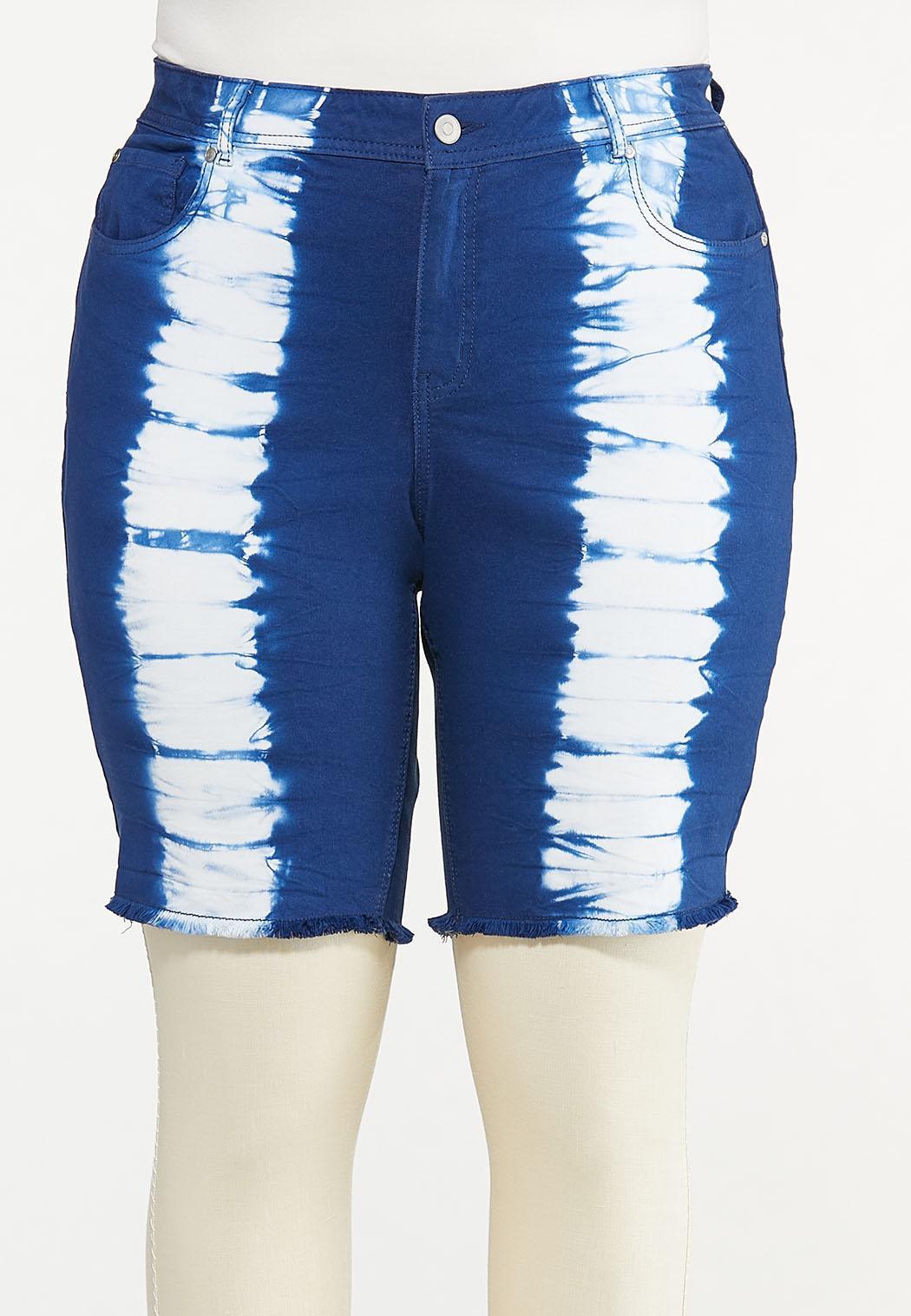 Plus Size Dyed Denim Shorts