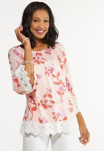 Plus Size Lace Trim Floral Poet Top