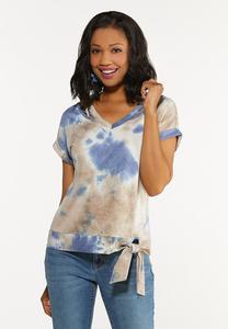 Plus Size Tie Dye Cutout Top