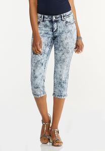 Cropped Acid Wash Jeans