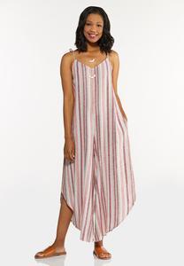 Plus Size Striped Linen Genie Jumpsuit