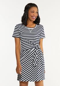 Plus Size Side Tie Striped Dress