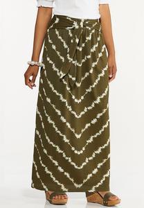 Olive Tie Dye Maxi Skirt