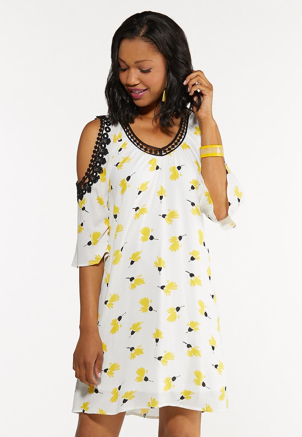 Plus Size Floral Lace Trim Dress