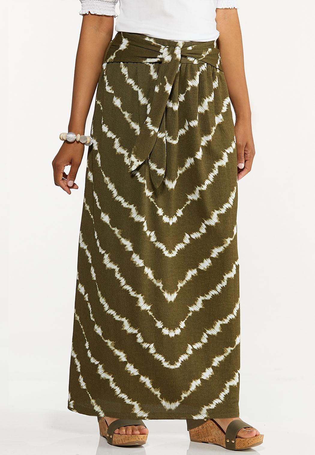 Plus Size Olive Tie Dye Maxi Skirt
