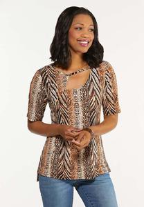 Plus Size Leopard Cutout Neck Top