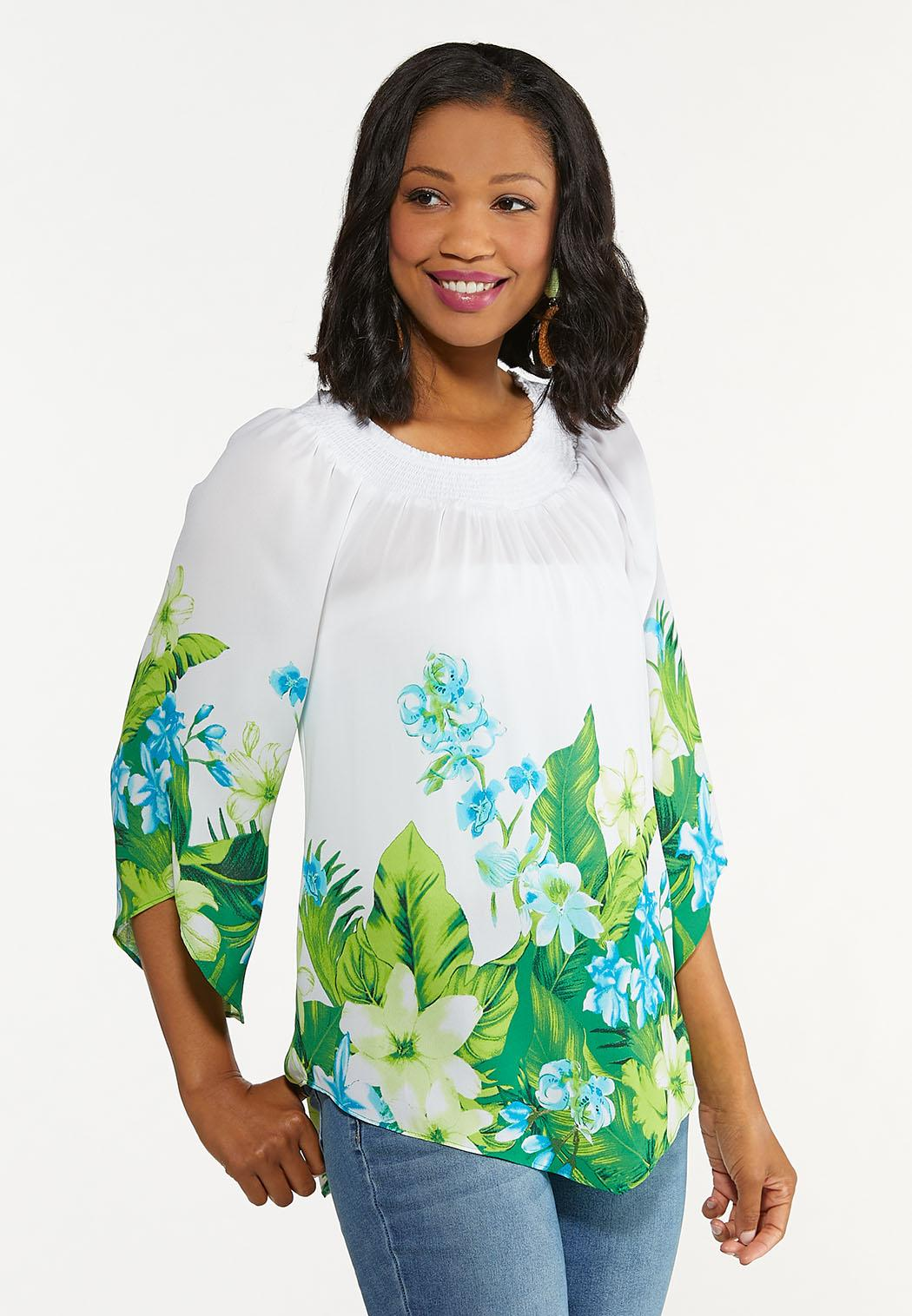 Plus Size Smocked Blue Floral Top