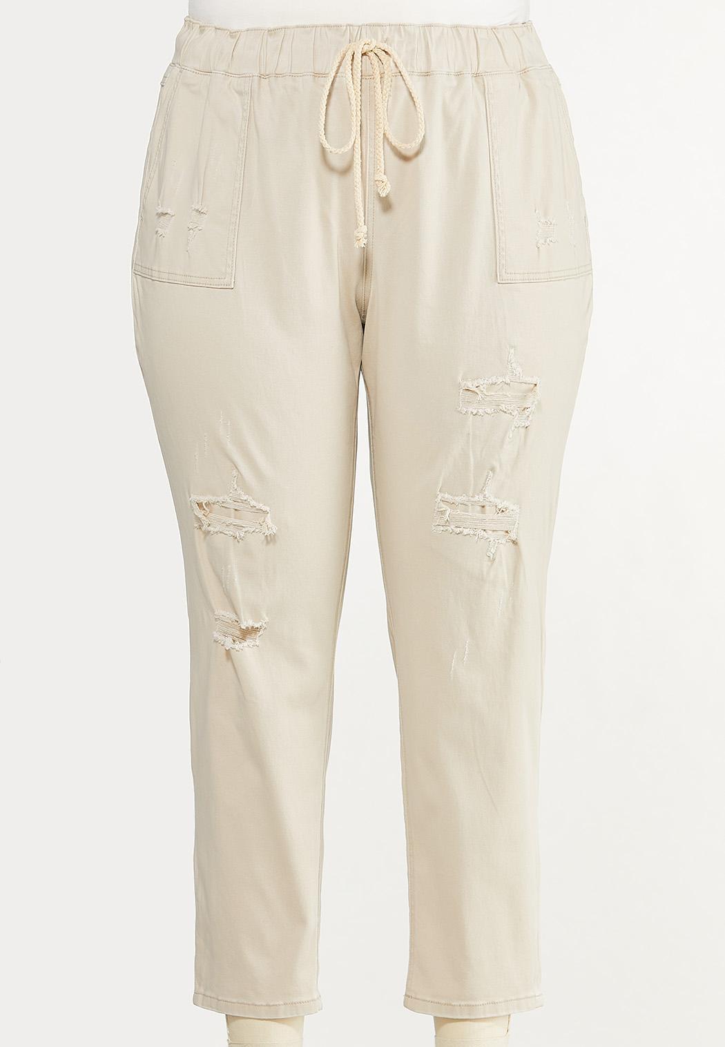 Plus Size Khaki Twill Pants