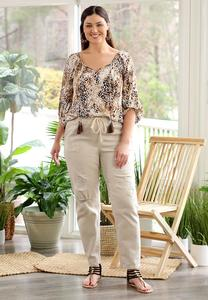 Plus Size Khaki Twill Pants