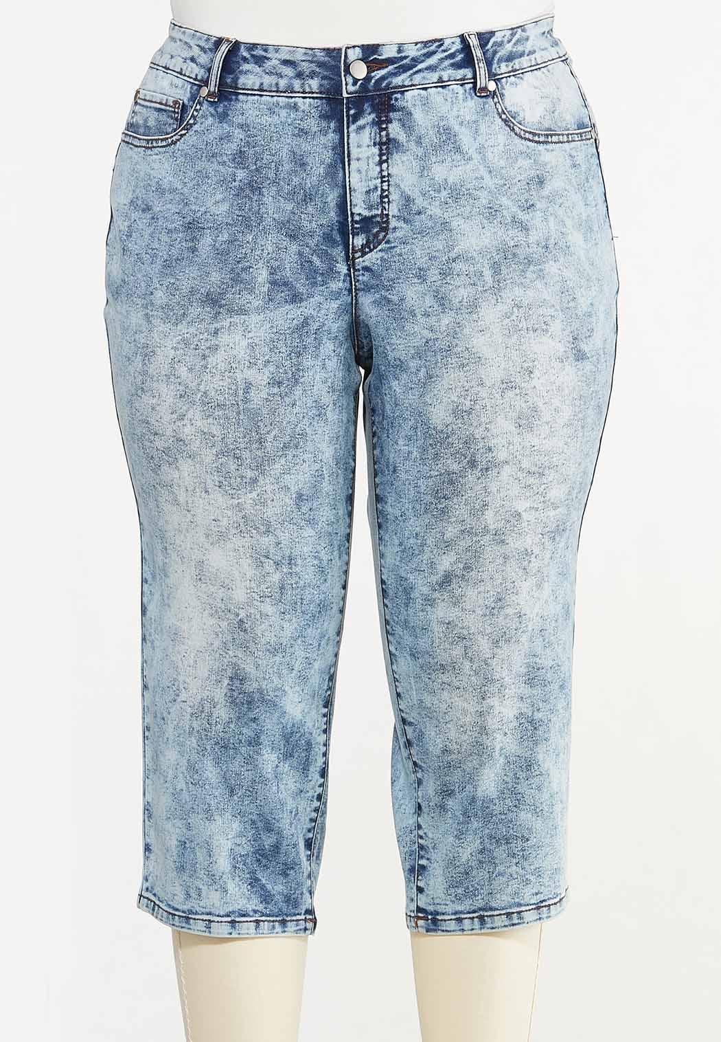 Plus Size Cropped Acid Wash Jeans