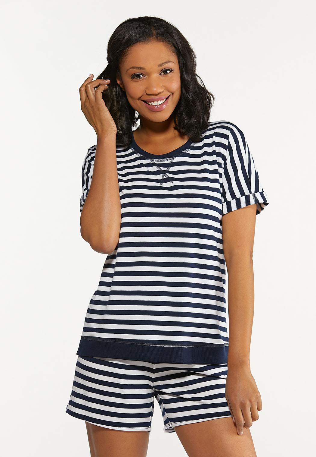 Plus Size Striped Roll Cuff Top