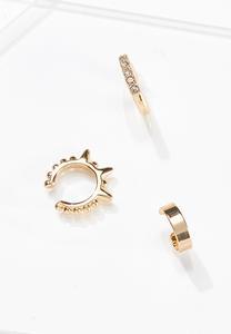 Gold Cuff Earring Set