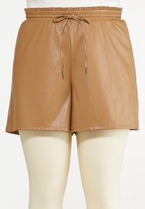 Plus Size Faux Leather Shorts