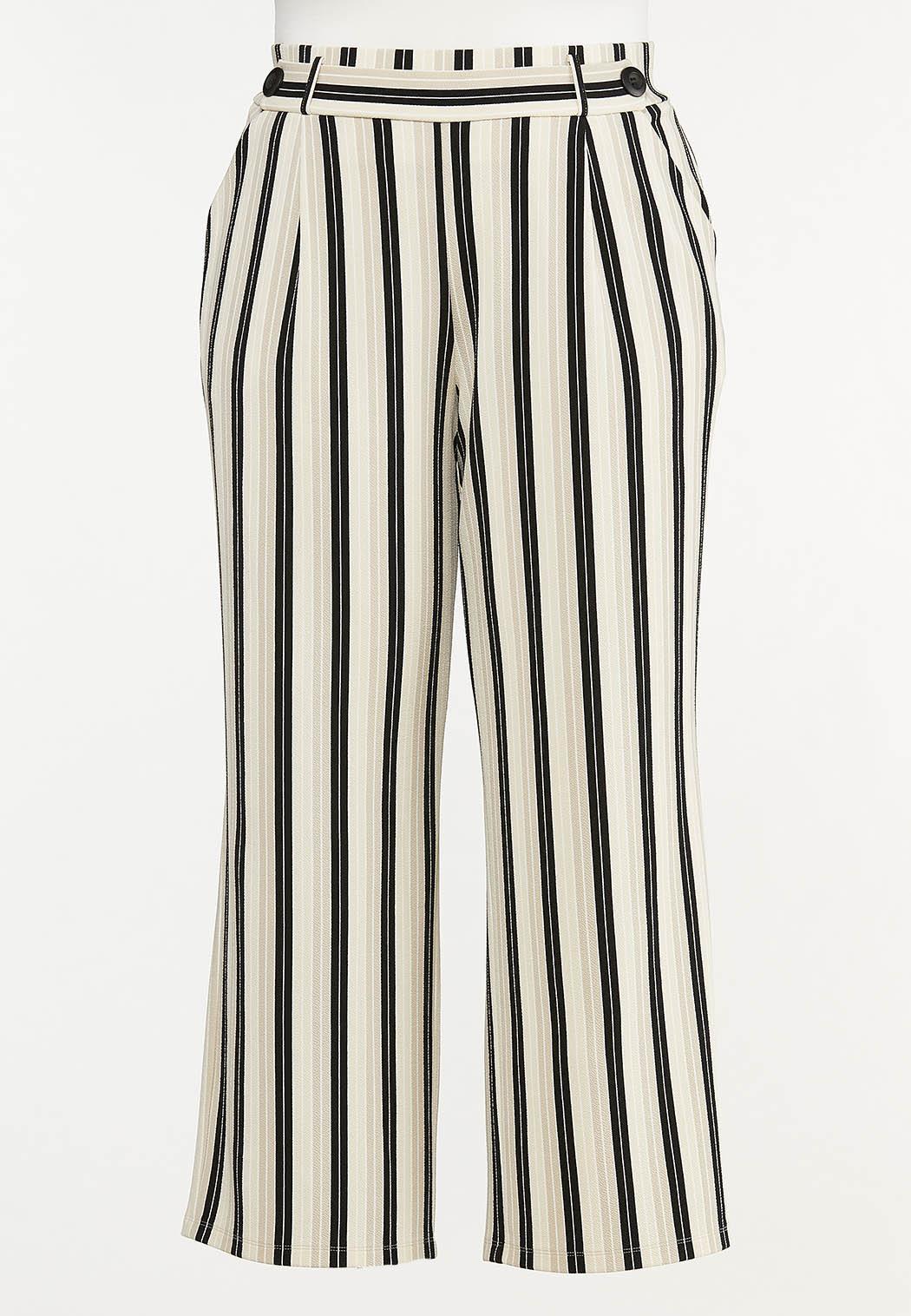 Plus Size Striped Trouser Pants