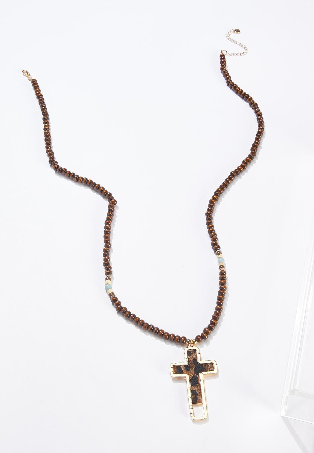 Beaded Leopard Cross Necklace