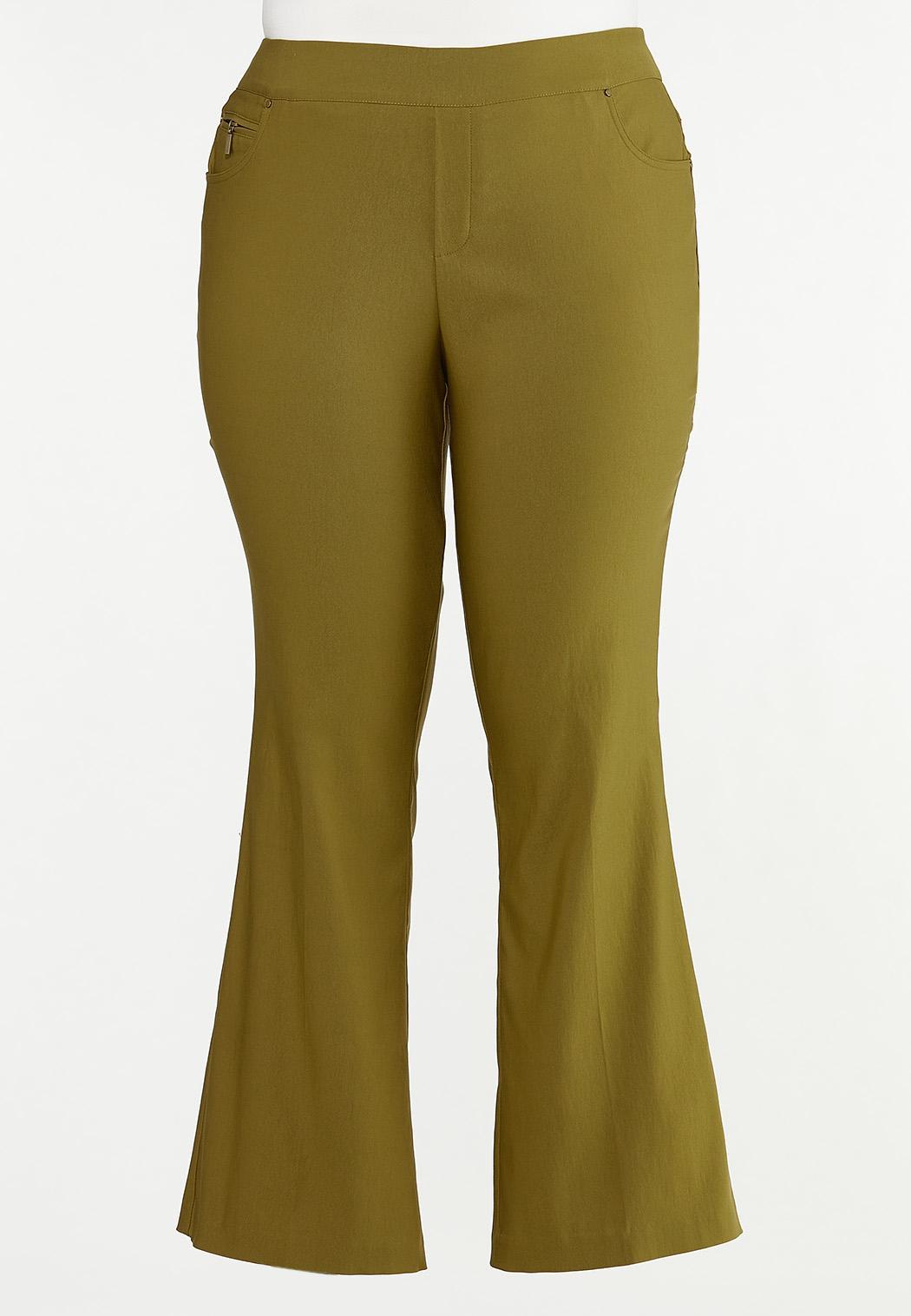 Plus Size Solid Bengaline Flare Pants