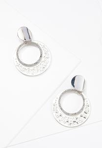 Circle Rhinestone Clip-On Earrings