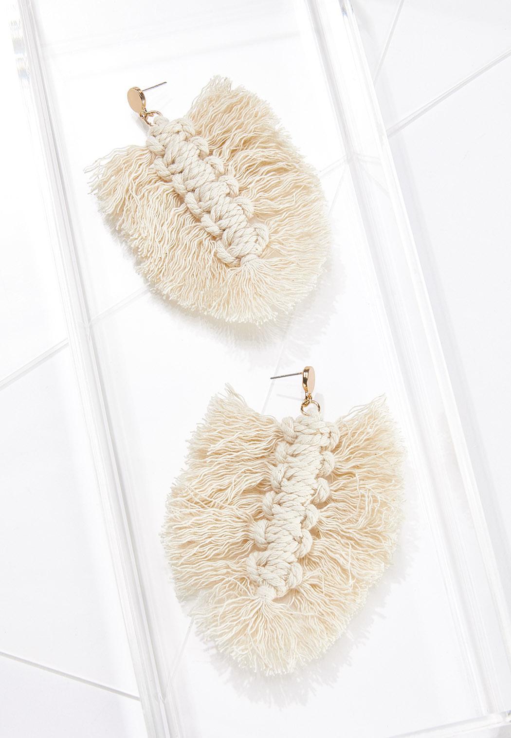 Macrame Leaf Earrings