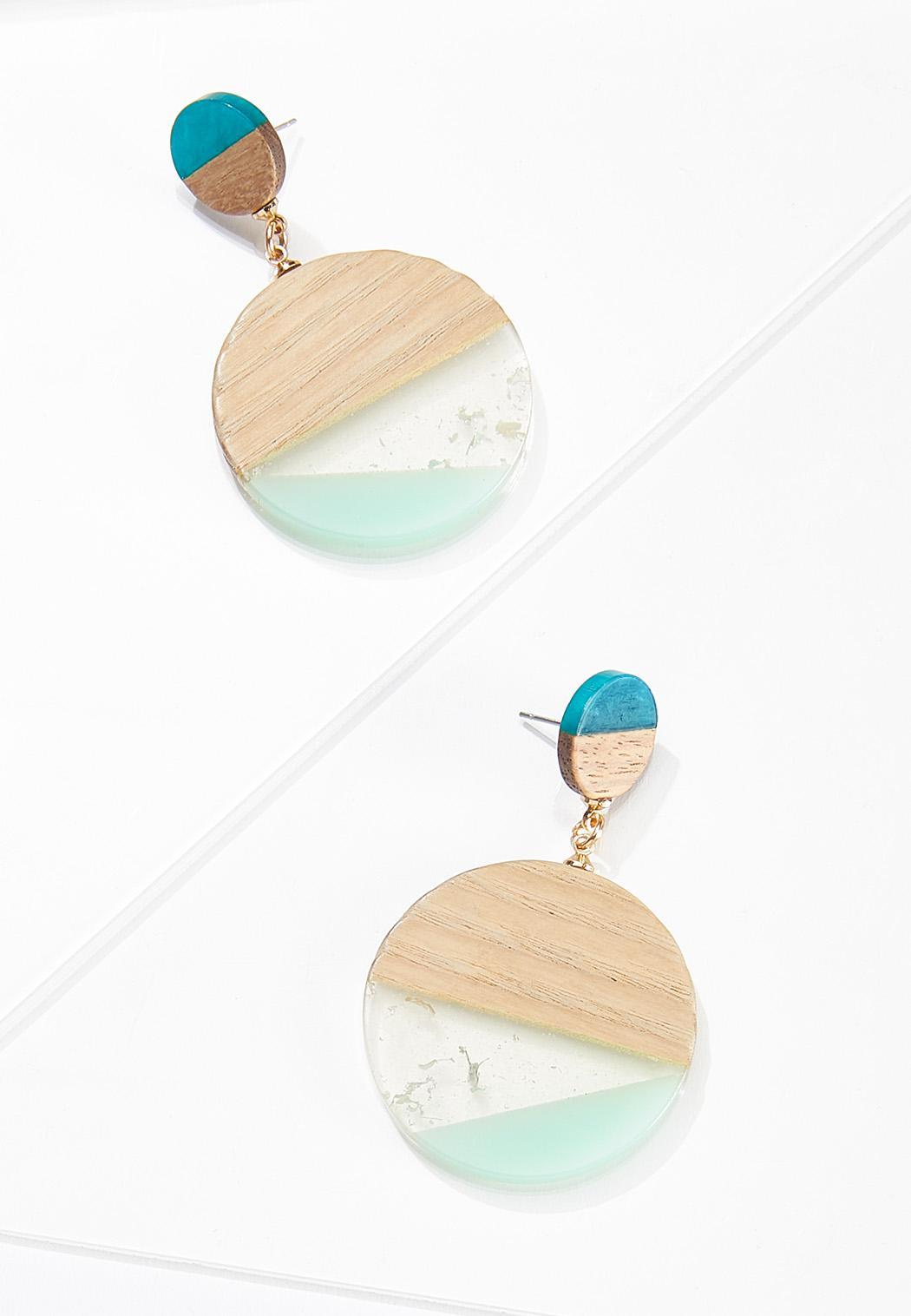 Circle Wood Resin Earrings