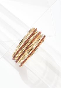 Wood Metal Bangle Bracelet Set