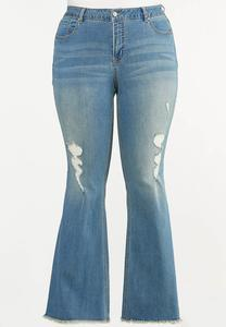 Plus Size Distressed Flare Jeans