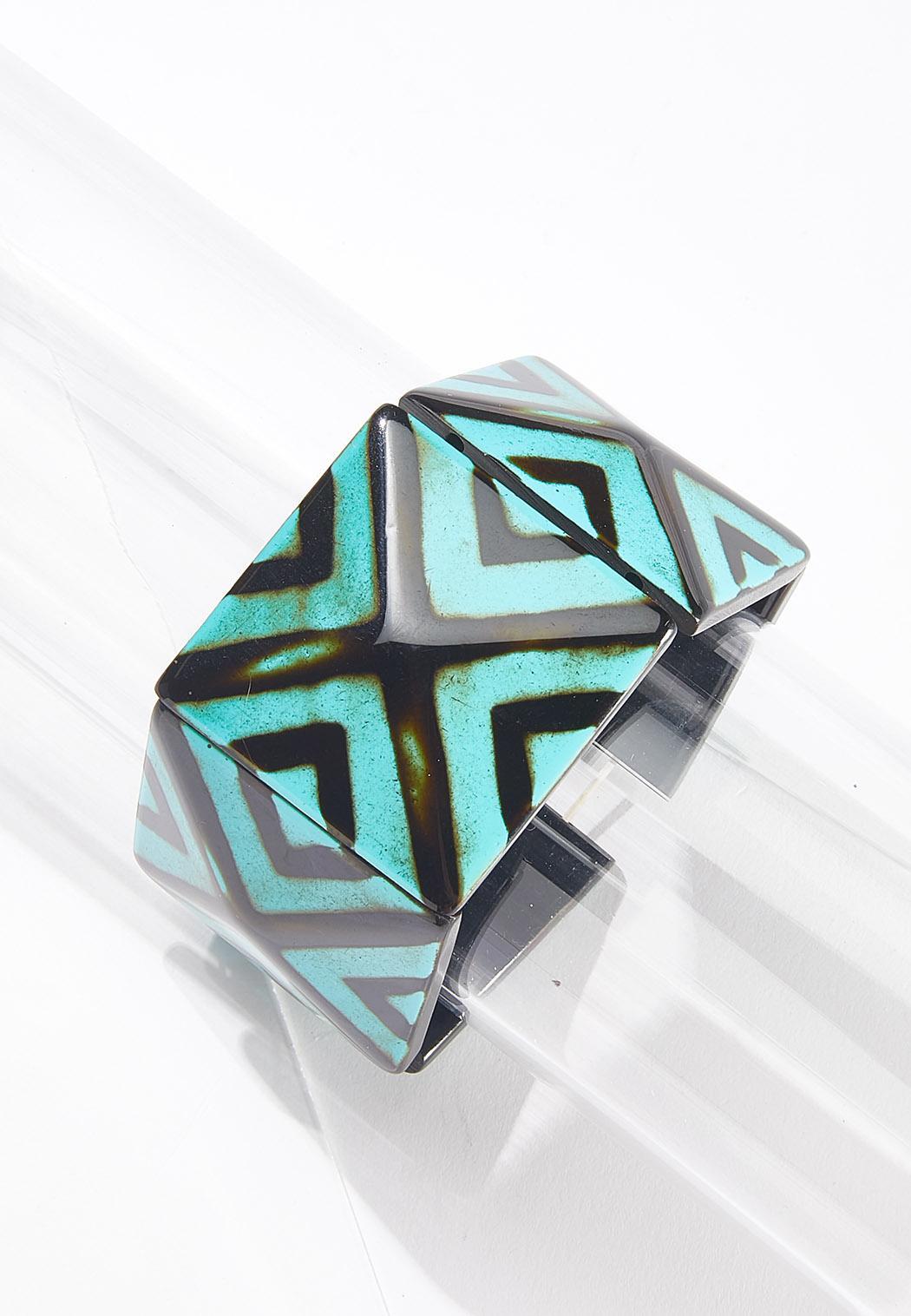 Wide Diamond Lucite Bracelet