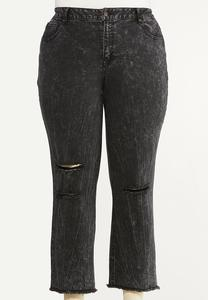 Plus Size Distressed Black Acid Wash Jeans