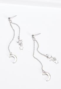 Linear Star Moon Earrings