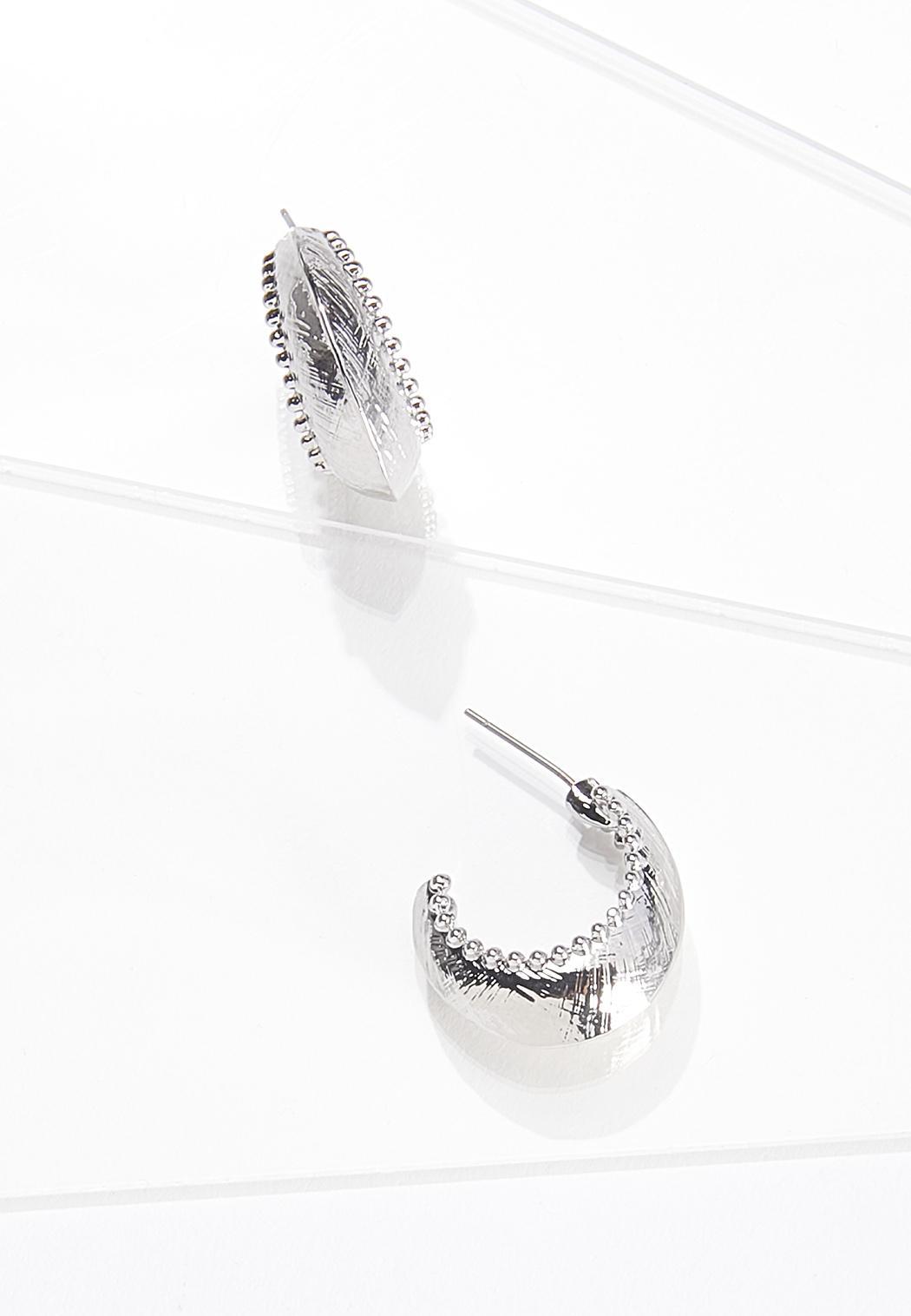 Pebbled Silver Hoop Earrings