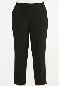 Plus Size Faux Leather Panel Pants